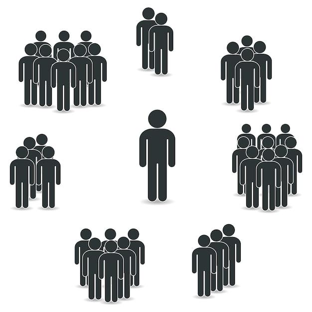 Icona della gente impostata in stile piatto alla moda. Vettore Premium