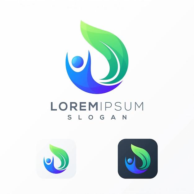 Logo design foglia persone pronto per l'uso Vettore Premium