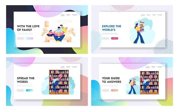 Persone nel set di pagine di destinazione della biblioteca, personaggi che leggono e cercano libri. istruzione, conoscenze, ricerca sull'informazione. Vettore Premium