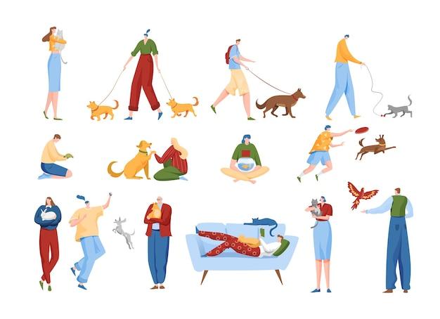 La gente ama l'insieme dell'illustrazione degli animali domestici Vettore Premium