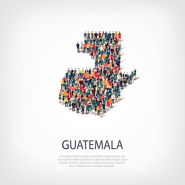 Persone sulla mappa del paese guatemala Vettore Premium