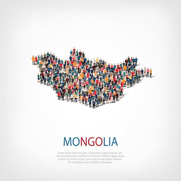 La gente mappa paese mongolia Vettore Premium