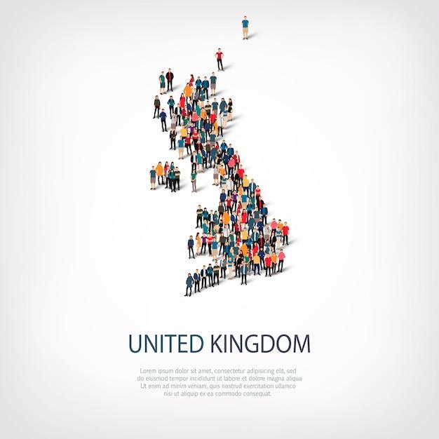 Persone mappa paese regno unito Vettore Premium