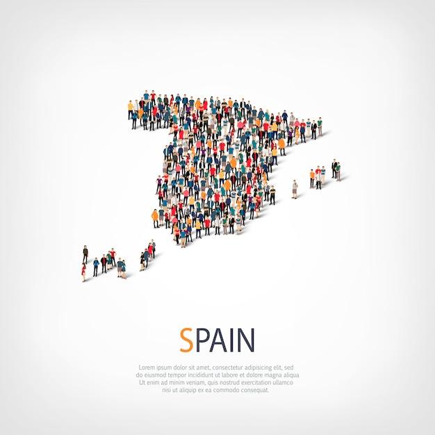Persone, mappa della spagna. folla che forma una forma di campagna. Vettore Premium