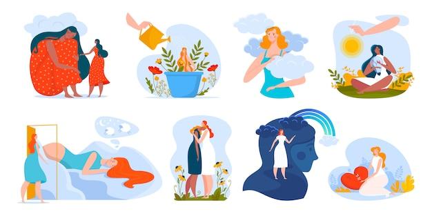 Illustrazione di salute mentale di persone, personaggi dei cartoni animati donna che abbraccia, aiutando nei problemi, psicoterapia emotiva di assistenza sanitaria Vettore Premium