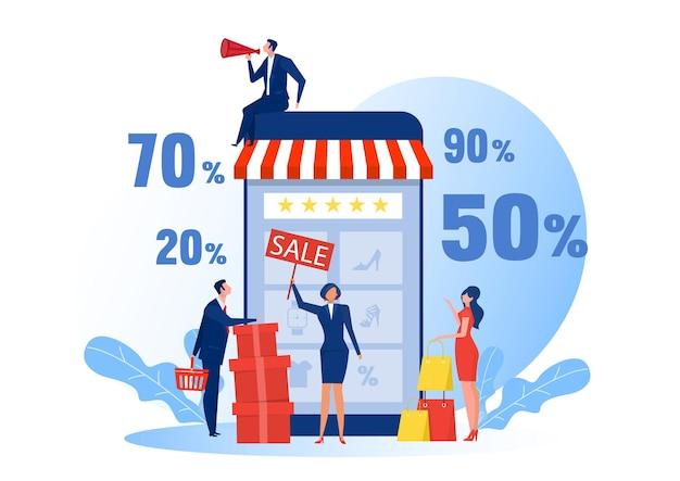 Acquisti online di persone, e-commerce su smartphone, acquirenti di persone moderne, e-commerce online Vettore Premium