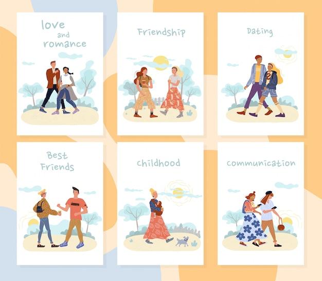 Set di carte ricreative di attività all'aperto di persone Vettore Premium
