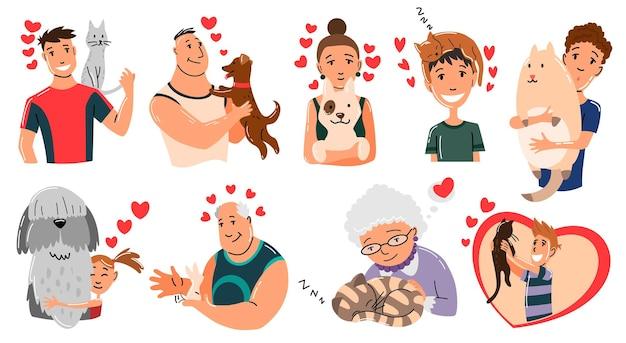 Persone e animali domestici. caratteri del proprietario dell'animale domestico del gatto, del cane e del coniglio. Vettore Premium