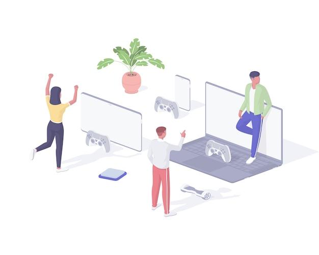 Persone che giocano a giochi online illustrazione isometrica. i giovani personaggi del gruppo giocano ai giochi per computer in remoto e comunicano in rete. divertimento eccitazione digitale di intrattenimento virtuale realistico. Vettore Premium
