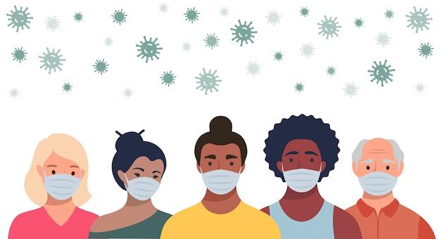 Persone in maschera protettiva e coronavirus volante in stile piatto. uomini e donne che indossano maschere mediche per prevenire malattie, influenza, concetto di quarantena. Vettore Premium