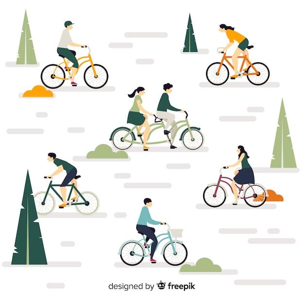 La gente andare in bicicletta nel parco Vettore Premium