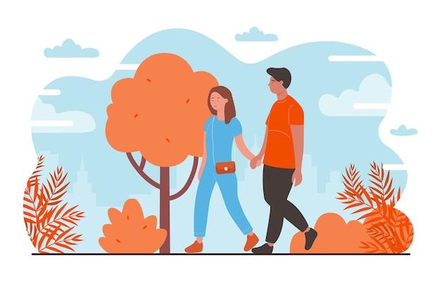 Persone sull'illustrazione romantica data. personaggi di giovani coppie felici che si incontrano, camminano insieme nel parco cittadino in autunno, amanti in coppia che si tengono per mano, romanticismo e amore Vettore Premium
