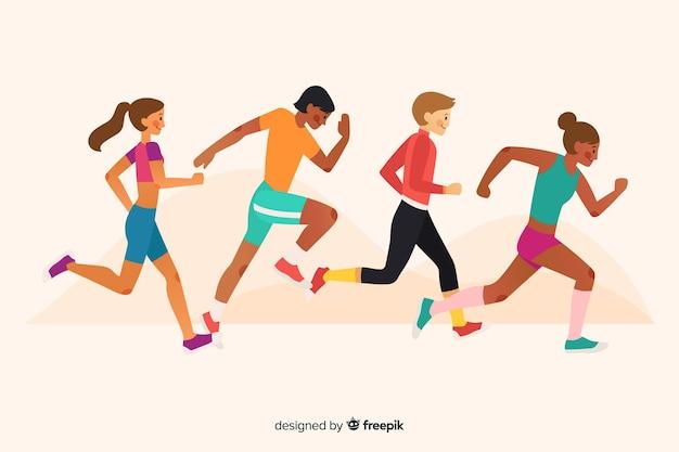 Le persone che corrono una gara di maratona Vettore Premium