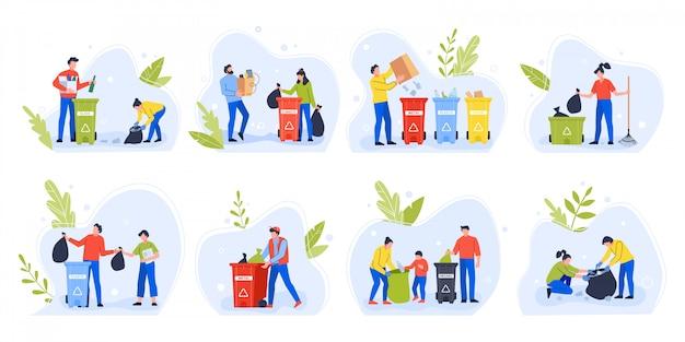 Le persone che separano i rifiuti. la giornata ambientale ricicla l'immondizia, la famiglia con i bambini ordina e separa i rifiuti per ridurre l'insieme dell'illustrazione di inquinamento ambientale. attivisti ecologici con bidoni della spazzatura Vettore Premium