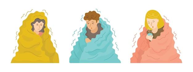 Persone tremanti sotto il set di coperte Vettore Premium