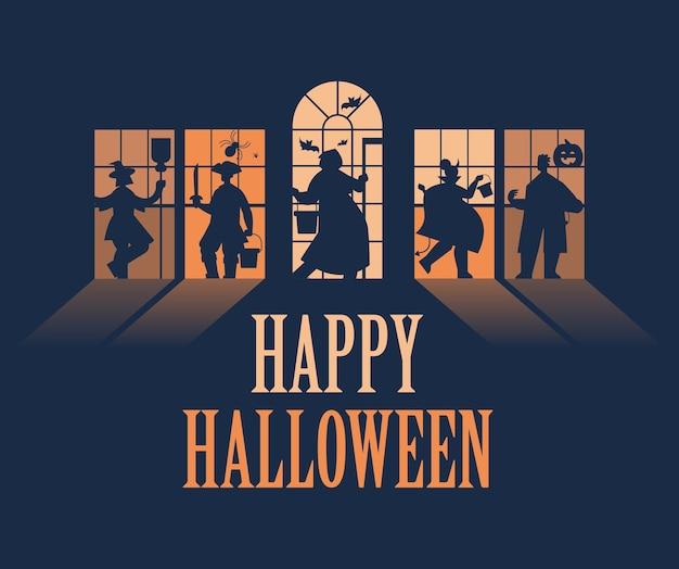 Sagome di persone in costumi diversi che celebrano felice festa di halloween concetto lettering biglietto di auguri orizzontale a figura intera illustrazione vettoriale Vettore Premium