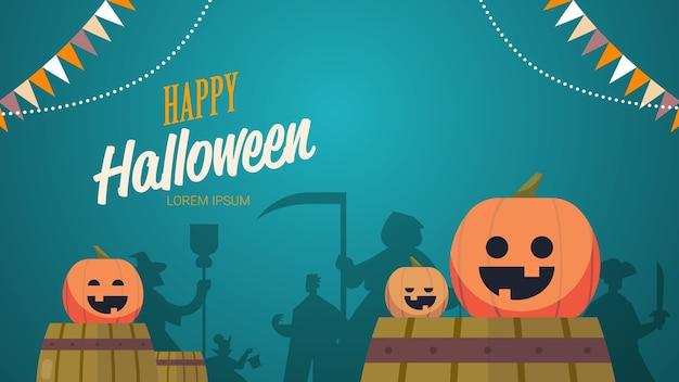 Sagome di persone in costumi diversi che celebrano felice festa di halloween concetto lettering biglietto di auguri orizzontale illustrazione vettoriale Vettore Premium