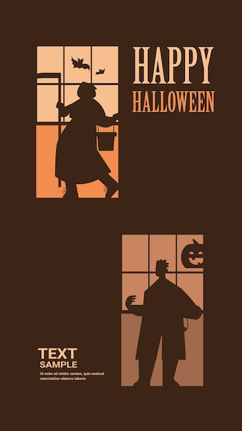 Sagome di persone in costumi diversi che celebrano felice festa di halloween concetto lettering biglietto di auguri verticale a figura intera illustrazione vettoriale Vettore Premium
