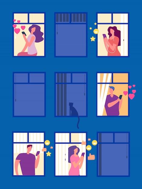 La gente nelle reti sociali nell'illustrazione delle finestre di sera Vettore Premium