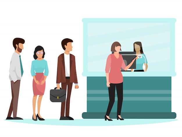 La gente che sta nella coda nell'illustrazione della banca. Vettore Premium