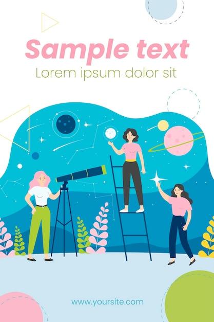 Persone che studiano astronomia e illustrazione di astrologia Vettore Premium