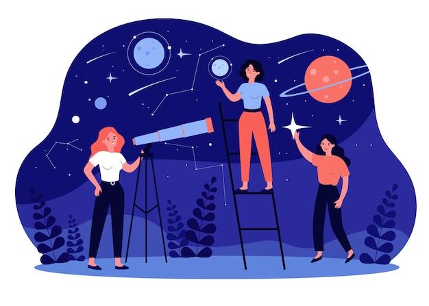 Persone che studiano astronomia e astrologia, usano il telescopio per la ricerca su galassie e pianeti. illustrazione per la scoperta, la geografia, il concetto di oroscopo Vettore Premium