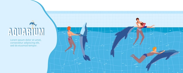 La gente nuota con l'illustrazione dei delfini. Vettore Premium
