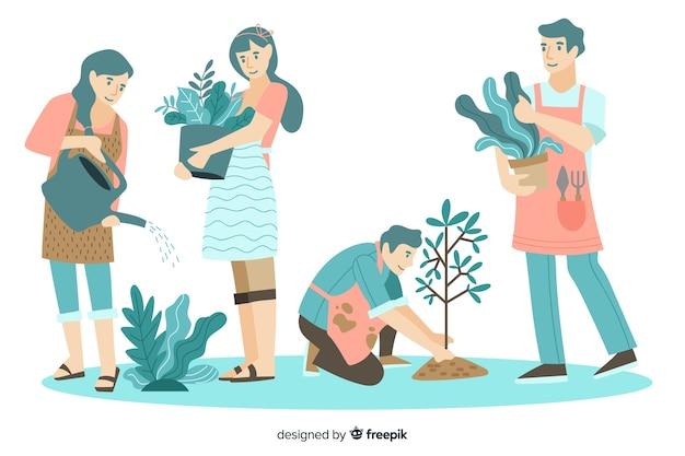 Persone che si prendono cura di design piatto di piante Vettore Premium