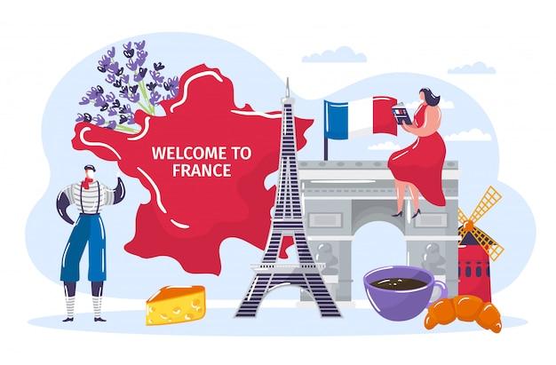 La gente viaggia in francia, personaggio dei cartoni animati uomo attivo donna turista in abiti tradizionali francesi visitando il punto di riferimento Vettore Premium