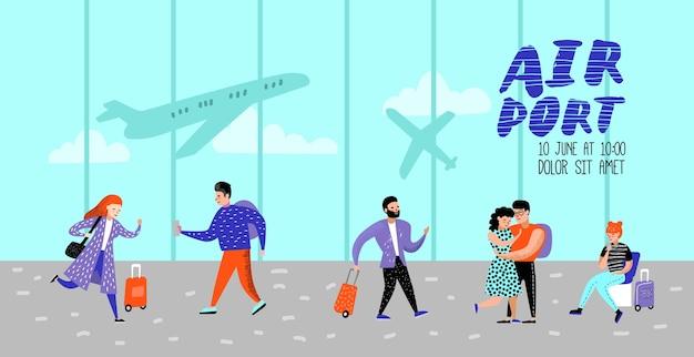 Persone che viaggiano in aereo poster Vettore Premium