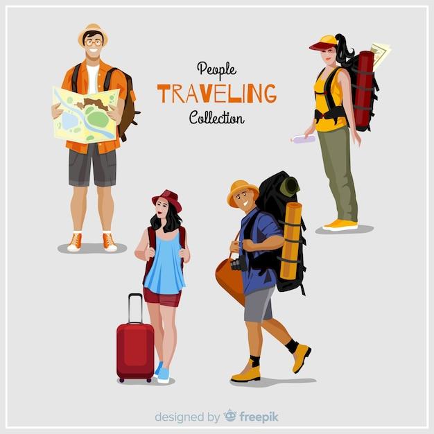 Raccolta di persone in viaggio Vettore Premium
