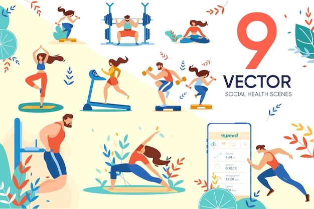 Set di applicazioni per utenti e assistenza sanitaria sociale Vettore Premium