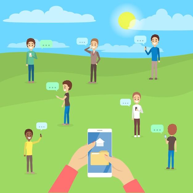 Persone che utilizzano i telefoni cellulari per chattare e scambiarsi file tramite smartphone. dipendenza da internet. illustrazione Vettore Premium
