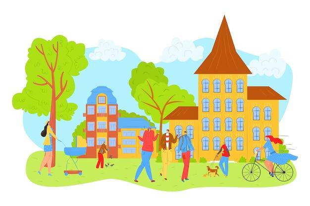 La gente cammina nel parco cittadino in estate, tempo libero e riposo nella natura con l'illustrazione degli amici. madre con baby carrige, ragazza in bicicletta, uomo con cane nel parco, rilassante tra gli alberi. Vettore Premium