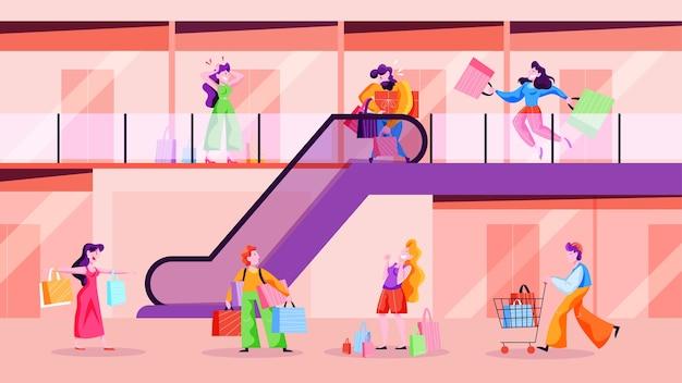 Persone che camminano nel centro commerciale. grande centro commerciale, persona maschio e femmina con borsa della spesa. stile di vita consumistico. illustrazione in stile cartone animato Vettore Premium