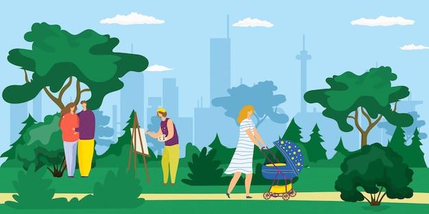 Camminata della gente all'aperto nel parco della città, giovane madre con la carrozzina, immagine del disegno dell'artista e illustrazione felice del fumetto delle coppie. divertimento, lavoro e svago nel parco in estate tra gli alberi. Vettore Premium