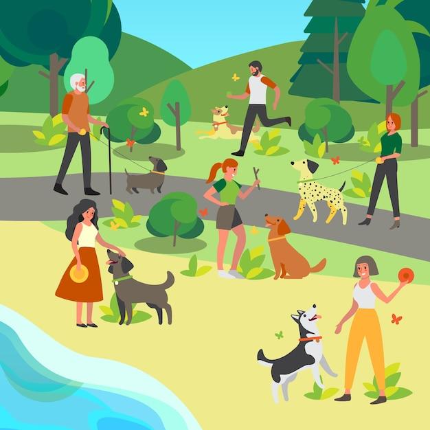 Persone che camminano e giocano con il loro cane nel parco. felice personaggio maschile e femminile e animale domestico trascorrono del tempo insieme. amicizia tra animale e persona. Vettore Premium