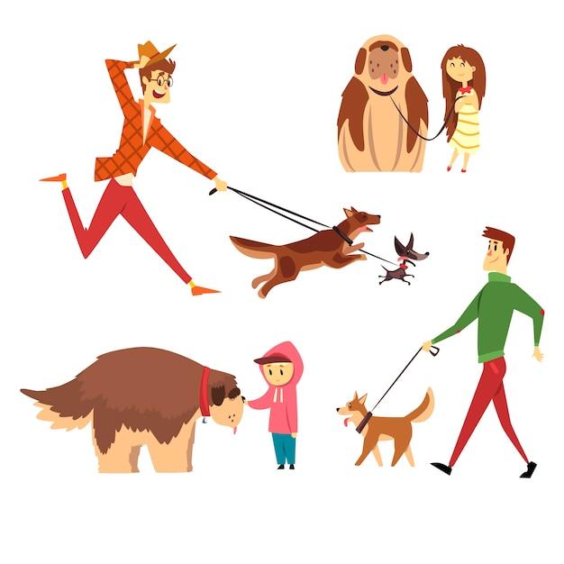 Persone che camminano e giocano con i loro cani insieme, ute animali domestici con i loro proprietari fumetto illustrazioni su sfondo bianco Vettore Premium
