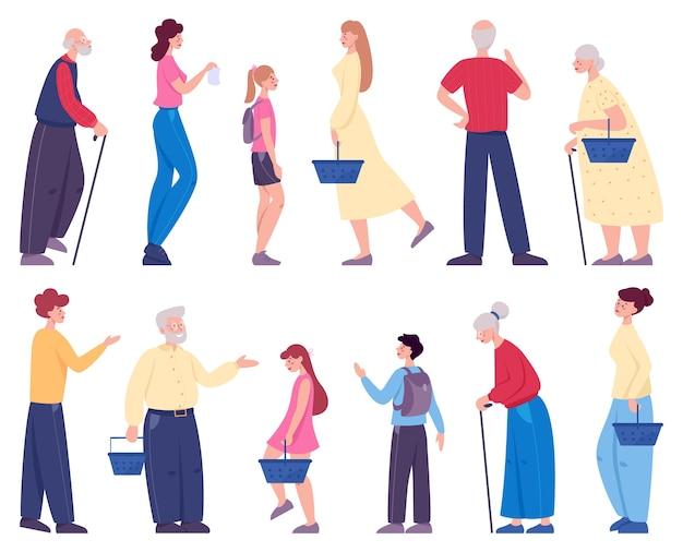 Persone che camminano con il carrello nel set del supermercato. personaggio con cesto in negozio. Vettore Premium