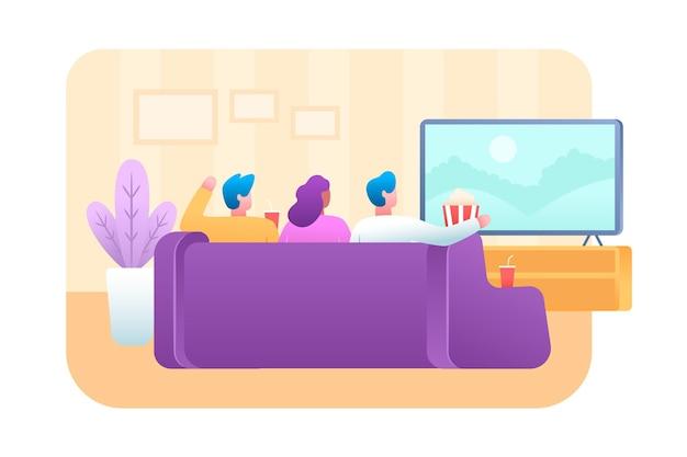 Persone che guardano un film a casa Vettore Premium