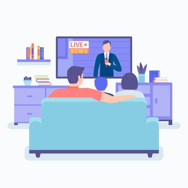 Persone che guardano le notizie Vettore Premium