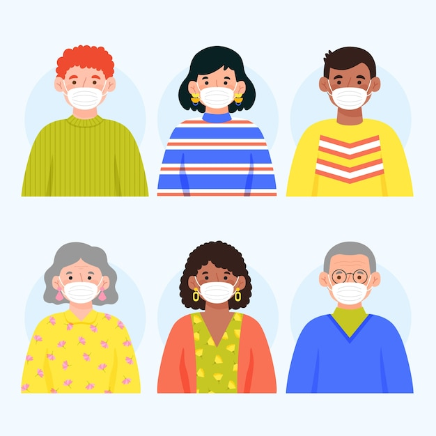 La gente che indossa il concetto di maschera medica Vettore Premium