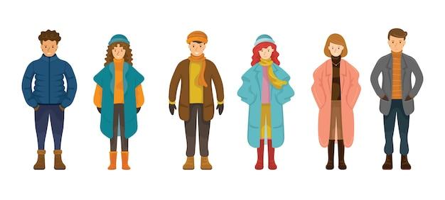 Persone in abiti invernali Vettore Premium