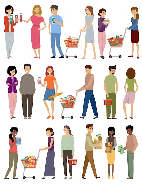 Persone con cestini della spesa e carrelli su uno sfondo bianco Vettore Premium