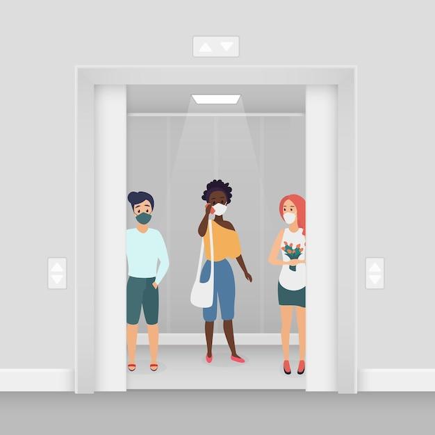 Persone con maschere nell'illustrazione dell'ascensore Vettore Premium