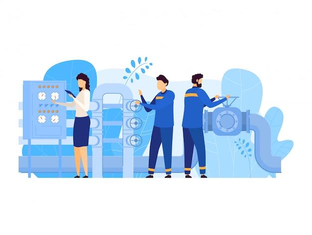 La gente lavora nell'illustrazione dell'industria petrolifera del petrolio, caratteri del lavoratore dell'uomo del fumetto che lavorano alla conduttura, aprendo la valvola su bianco Vettore Premium