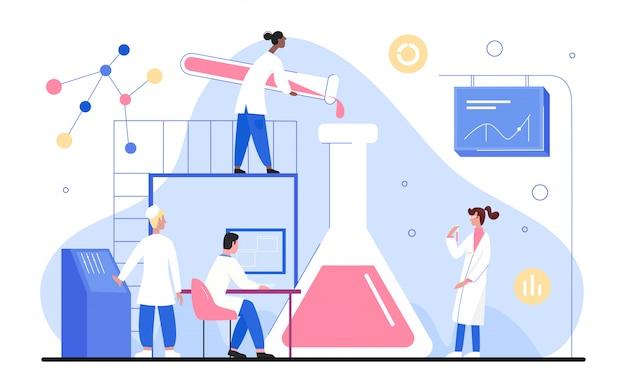 La gente lavora nell'illustrazione del laboratorio di scienza, caratteri minuscoli del ricercatore dello scienziato del fumetto che lavorano con l'attrezzatura scientifica del laboratorio su bianco Vettore Premium
