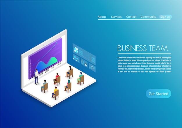 Le persone lavorano in team e interagiscono con i grafici. affari, gestione del flusso di lavoro e situazioni d'ufficio. utilizzare per pagina di destinazione, grafica di informazioni e altro Vettore Premium