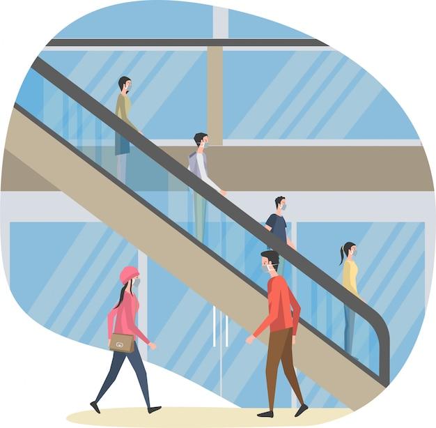 La gente sta usando la scala mobile nel centro commerciale mantenendo l'illustrazione a distanza Vettore Premium