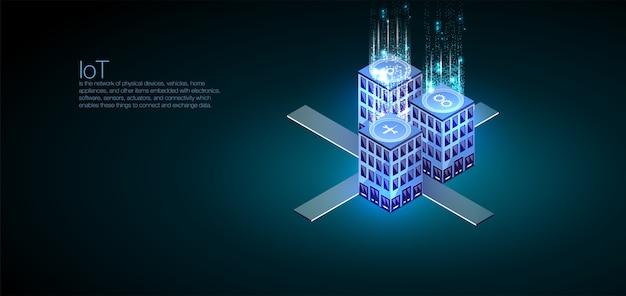 Perfetto per web design, banner e presentazione. analisi dei dati e visualizzazione isometrica Vettore Premium